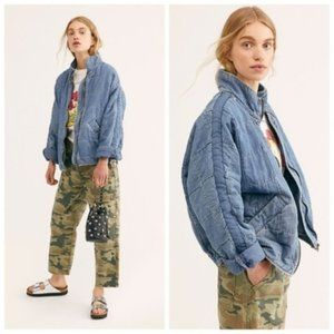 Free People Dolman Quilted Knit Jacket - Blue, L